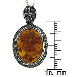 Dolce Giavonna Sterling Silver Marcasite and Created Amber Necklace