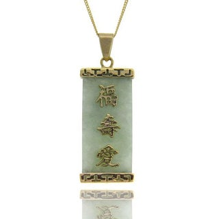 Dolce Giavonna 18k Yellow Gold over Sterling Silver Jade Chinese Character Necklace