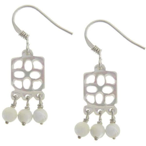 """Dolce Giavonna Sterling Silver Mother of Pearl """"Good Luck"""" Ball Drop Earrings"""