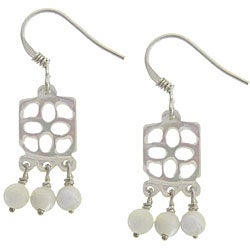 "Dolce Giavonna Sterling Silver Mother of Pearl ""Good Luck"" Ball Drop Earrings"
