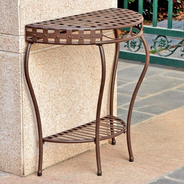 International Caravan Santa Fe Nailhead 2-tier Half Moon Table