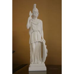 White Bonded Marble Athena with Shield Statue