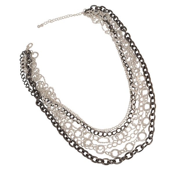 NEXTE Jewelry Brass Silvertone Six Row Multiplicity Necklace