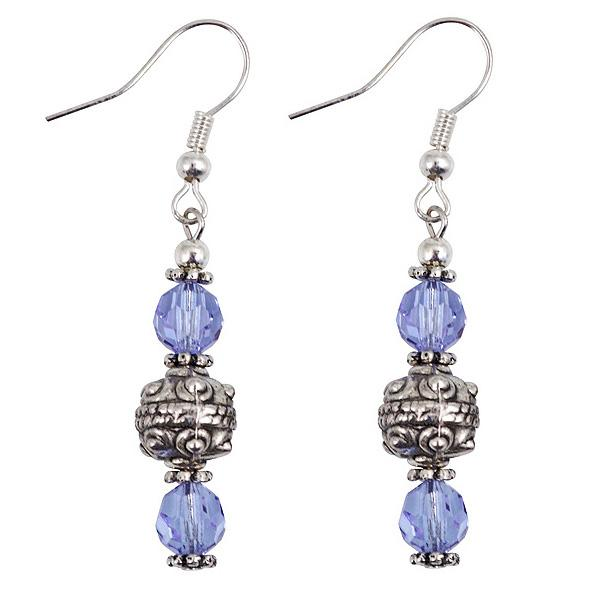 Silver and Blue Crystal Bead Dangle Earrings (Thailand)