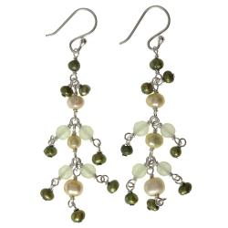 Sterling Silver Pearl and Jade Earrings (Thailand)