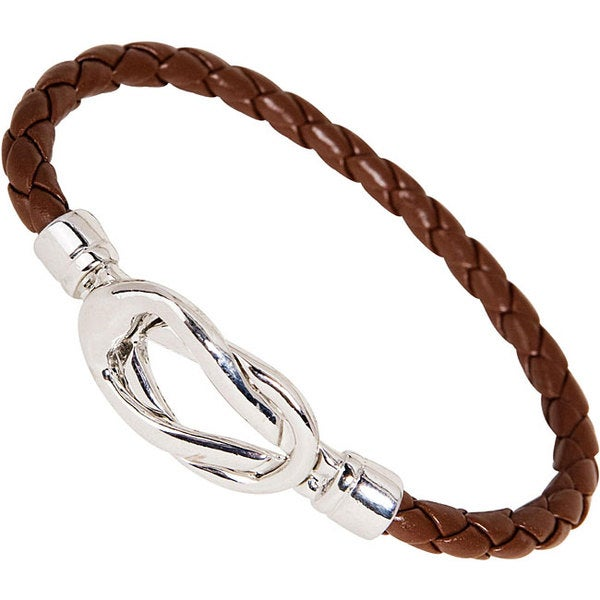 Nexte Brown Leather Silvertone Knot-lock Bracelet