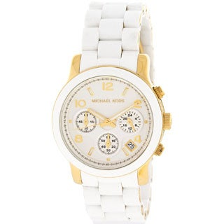 Michael Kors Women's MK5145 Runway Chronograph White and Yellow Goldtone Watch