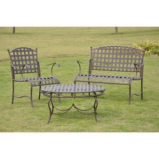 International Caravan Santa Fe 'Nailhead' 3-piece Iron Settee Group