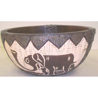 Wood and Brass Tribal Decorative Fruit Bowl (Ghana)