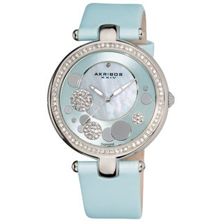 Akribos XXIV Women's Light Blue Sunray/ Diamond Dial Quartz Strap Watch