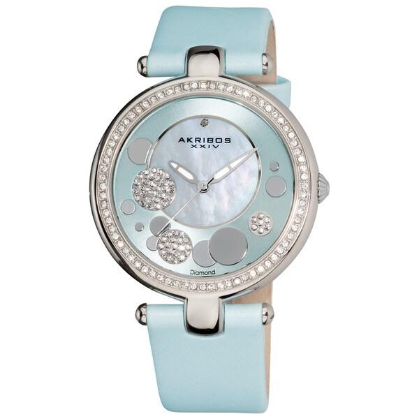 Akribos XXIV Women's Light Blue Sunray/ Diamond Dial Quartz Strap Watch