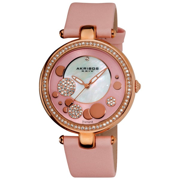 Akribos XXIV Women's Pink Sunray/ Diamond Dial Quartz Strap Watch