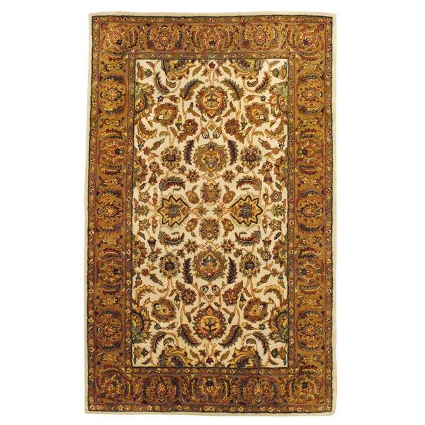 Indo Hand-Tufted Mahal Beige Wool Area Rug (5' x 8')