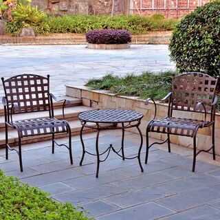 International Caravan Santa Fe 'Nailhead' 3-piece Iron Bistro Set