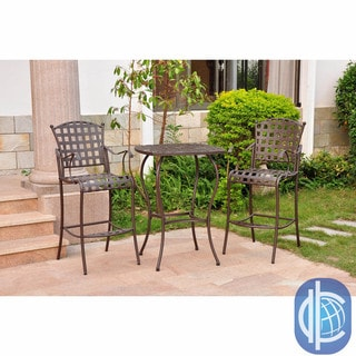 International Caravan Santa Fe 'Nailhead' 3-piece Iron Bar Height Bistro Set
