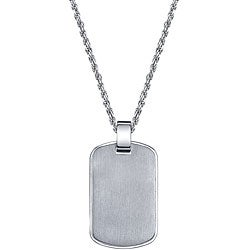 Stainless Steel Satin Finish Engraveable Dog Tag Necklace
