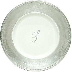 ChargeIt! by Jay 13-inch Silver Monogram Chargers (Pack of 8)