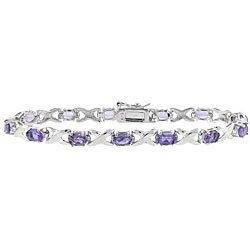 Dolce Giavonna Sterling Silver Amethyst 'X and O' Bracelet