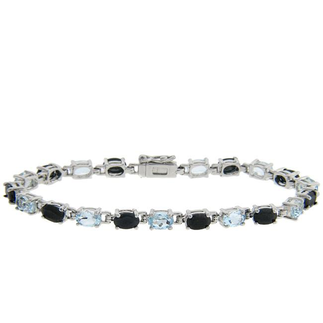 Dolce Giavonna Sterling Silver Sapphire and Blue Topaz Bracelet