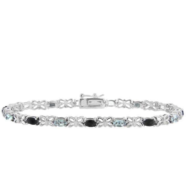 Dolce Giavonna Sterling Silver Sapphire and Blue Topaz Butterfly Link Bracelet
