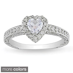 Miadora Silver Gemstone and 1/6ct TDW Diamond Ring (H-I, I3)