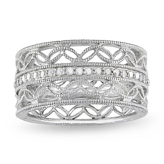 Miadora Sterling Silver 1/6ct TDW Diamond Ring (H-I, I3)