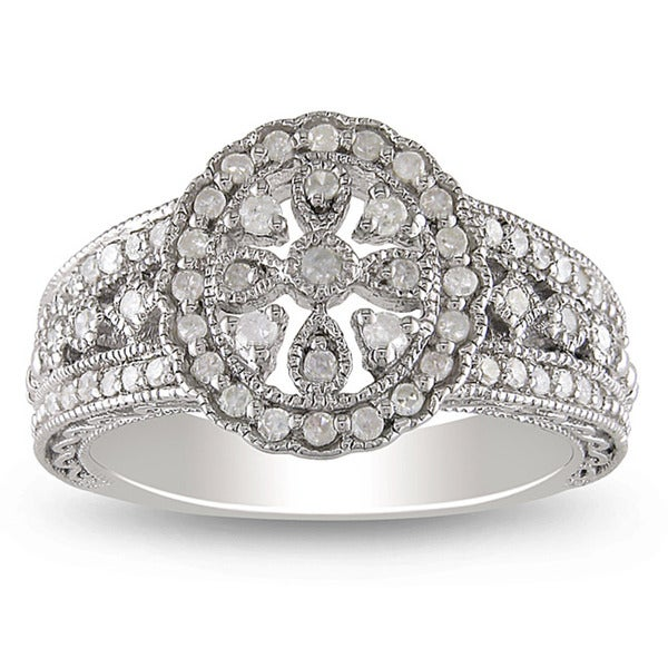 Miadora Sterling Silver 1/3ct TDW Round-cut Diamond Ring (H-I, I3)