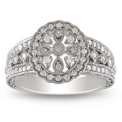 Miadora Sterling Silver 1/3ct TDW Diamond Ring (H-I, I3)