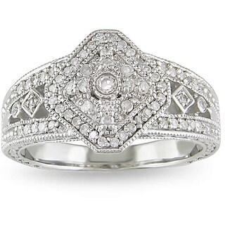 Miadora Sterling Silver 1/3ct TDW White Diamond Ring (H-I, I3)