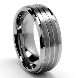 Men's Tungsten Carbide Grooved Tungsten Ring (9 mm)