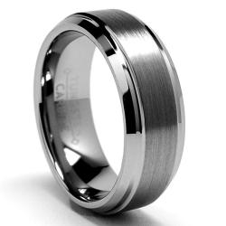 Men's Tungsten Carbide Brushed and Polished Beveled Edge Ring (7 mm)