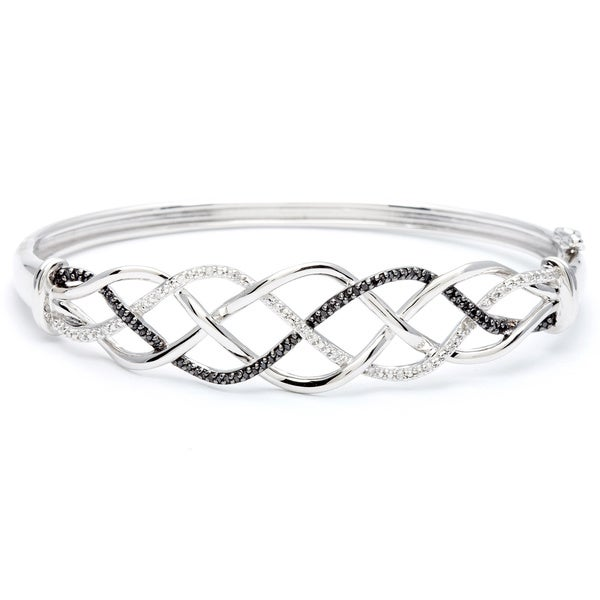 Sterling Silver 1/4ct TDW Black and White Diamond Bangle