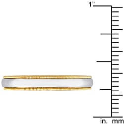 14k Two-tone Gold Women's Milligrain Comfort Fit Wedding Band (3.2 mm)