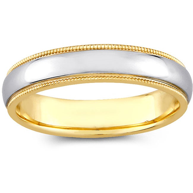 14k Two tone Gold Women s Milligrain fort Fit Wedding Band 4 mm 12