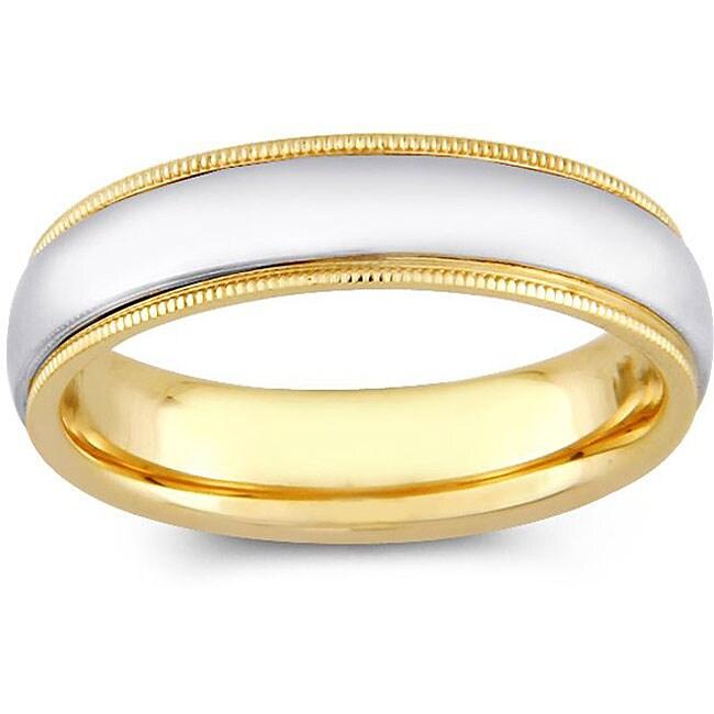 14k Two-tone Gold Men's Milligrain Comfort Fit Wedding Band (5 mm)