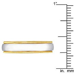 14k Two-tone Gold Men's Milligrain Comfort Fit Wedding Band (5 mm)