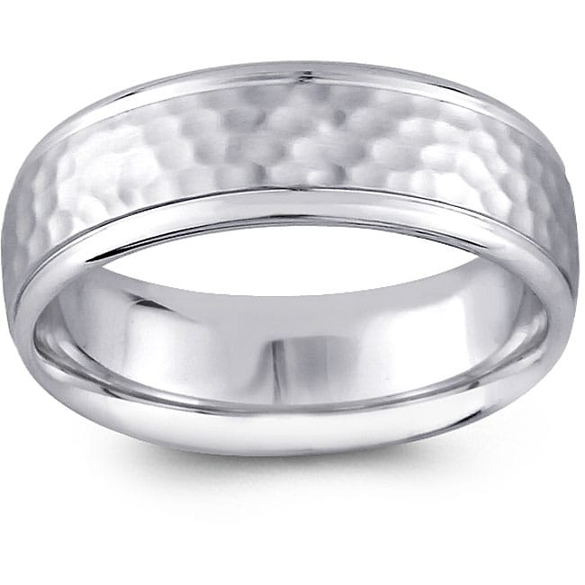 14k White Gold Men's Hammered Design Comfort Fit Wedding Band (6.5 mm) at Sears.com