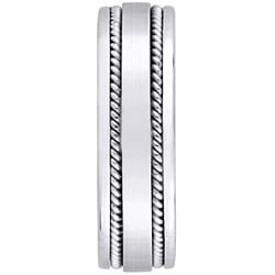 14k White Gold Women's Rope Detail Comfort Fit Wedding Band (5.2 mm)