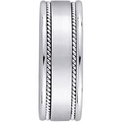 14k White Gold Men's Rope Detail Comfort Fit Wedding Band (8 mm)