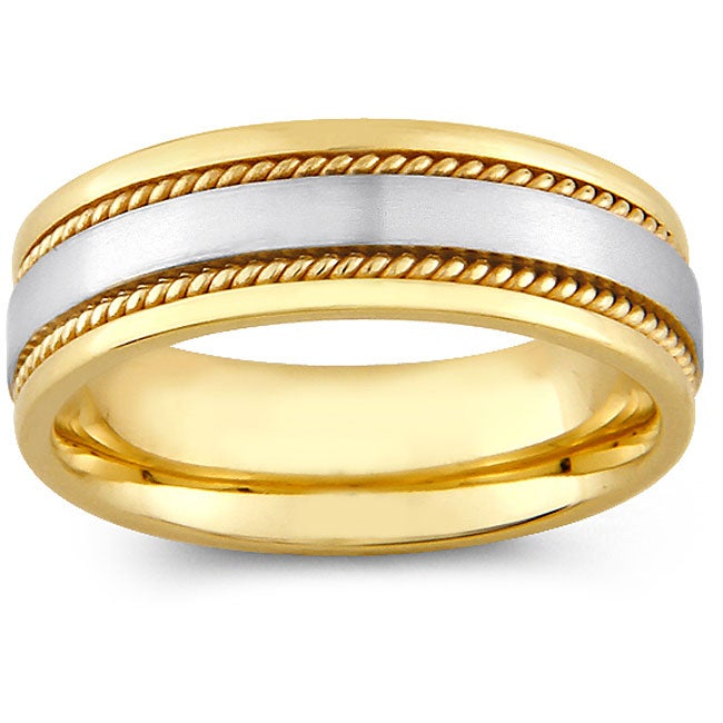 14k Two-tone Gold Women's Rope Detail Comfort Fit Wedding Band (6 mm)