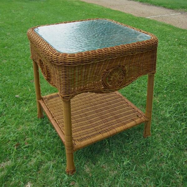 International Caravan Wicker Glass Top Side Table