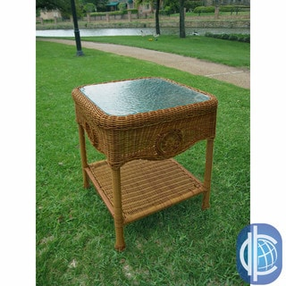 International Caravan Wicker Glass Top Side Table