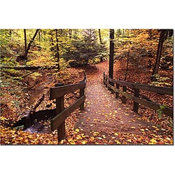 Kurt Shaffer 'Autumn Bridge' Gallery-wrapped Canvas Art