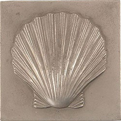 Shell Pewter 4-inch Accent Tiles (Set of 4)