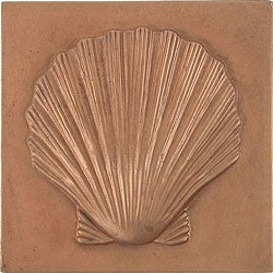Shell Red Copper 4-inch Accent Tiles (Set of 4)
