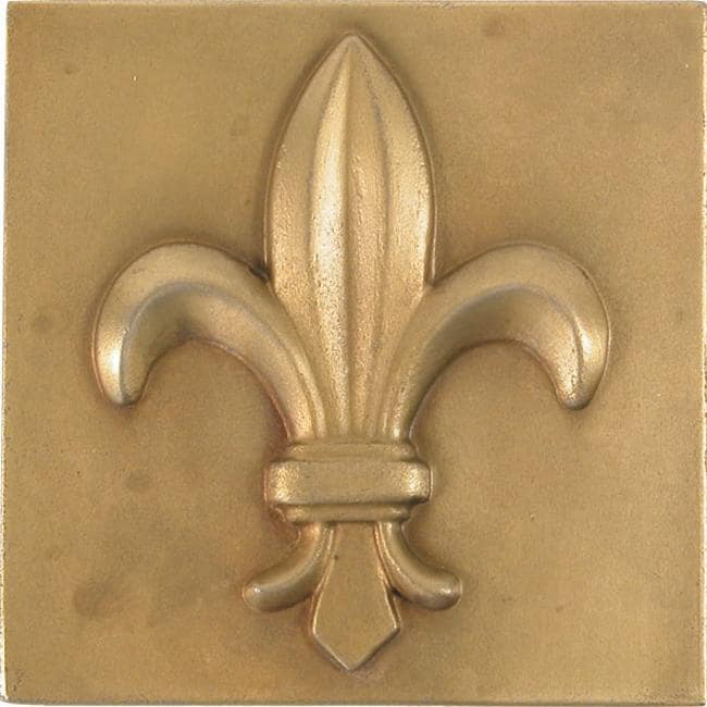 Fleur De Lis Antique Brass 4-inch Accent Tiles (Set of 4)