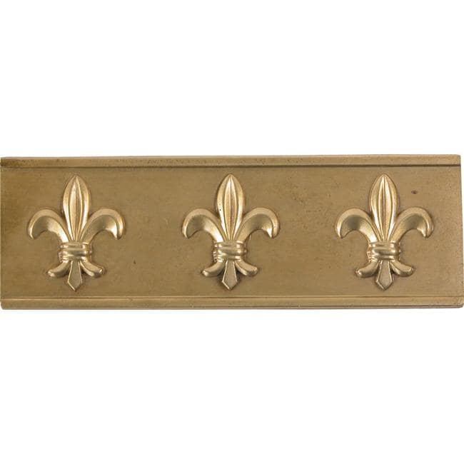 Fleur De Lis Antique Brass Accent Tiles (Set of 4)
