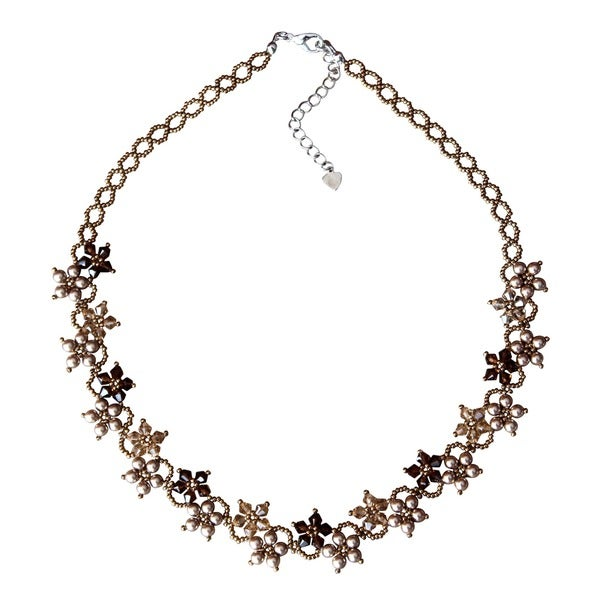 Stainless Steel Brown Pearl Delicate Flower Necklace (USA)