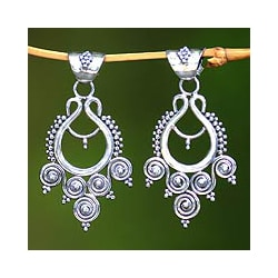 Sterling Silver 'Goddess Coils' Dangle Earrings (Indonesia)