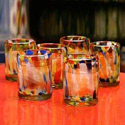 Set of 6 Glass 'Liquid Confetti' Tumblers (Mexico)